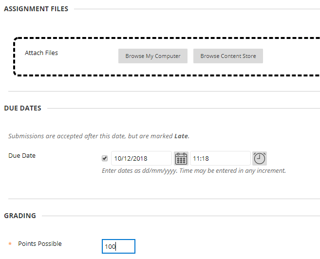 A screenshot showing the assignment files section from where you can upload additional files or drag and drop items to be included alongside your assessment. You can also set the due date and the points possible, always 100 in this case.