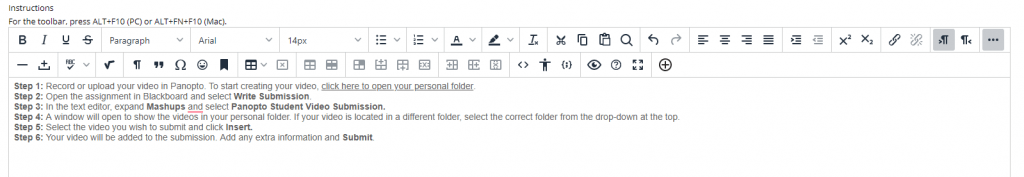 A screenshot showing how the automatic instructions from Panopto have been added to the text box on your assignment creation page.