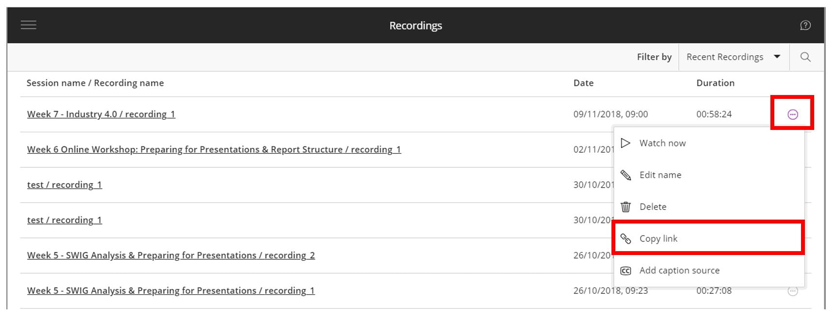 A screenshot of the Blackboard Collaborate Ultra recordings tab. A recording is listed, the date and duration are shown, and the ellipses menu is highlighted by a red box.