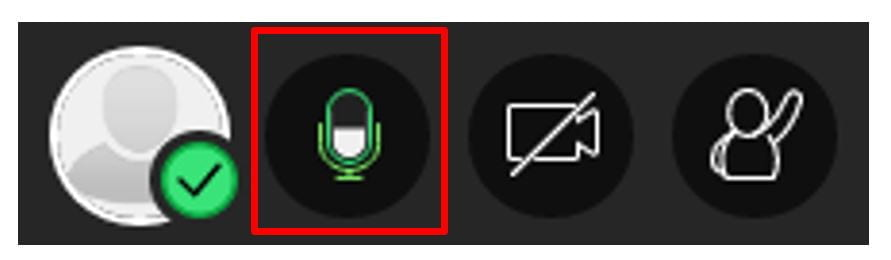 A screenshot of the microphone icon in Blackboard Collaborate Ultra. It is green and contains a waveform that moves as the presenter speaks.