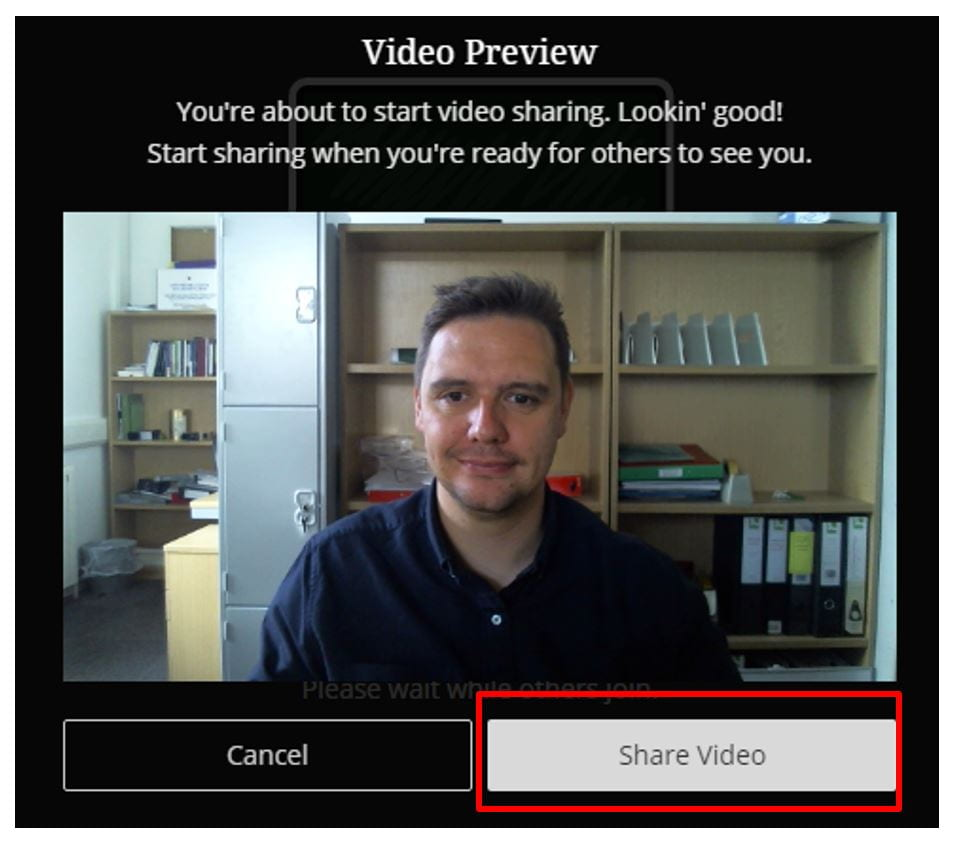 A screenshot of the Blackboard Collaborate Ultra Video Preview menu. Options to cancel or begin sharing video are shown.