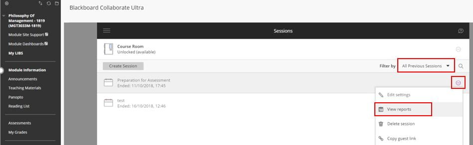A screenshot of the Blackboard Ultra tool in Blackboard. Previous sessions are listed, the ellipses icon is expanded on a recording and shows a View Reports option.
