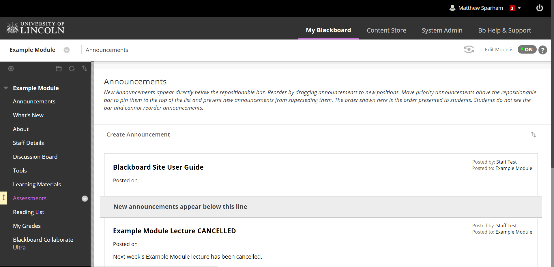 A screenshot of a Blackboard Module page. The assessments tab is highlighted in purple text on the left hand menu of the web page.