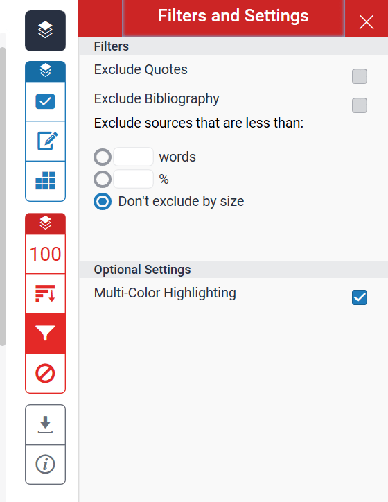 A screenshot of the Filters and Settings menu. The filters options include: exclude quotes, exclude bibliography, exclude items that are less than a word count or percentage.