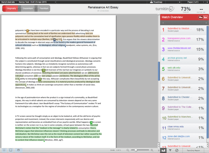 A screenshot of the Match Overview tab of Turnitin. An essay is shown with text highlighted, the colour of the highlight corresponds to a source shown in the Match Overview tab with high similarity.