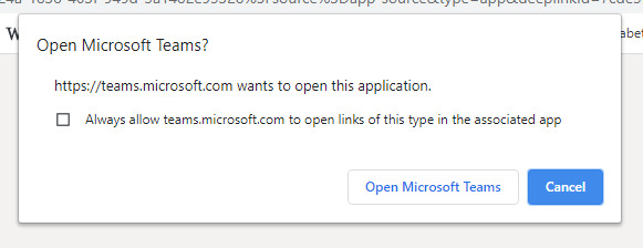 Screenshot showing the 'Open Microsoft Teams' process.