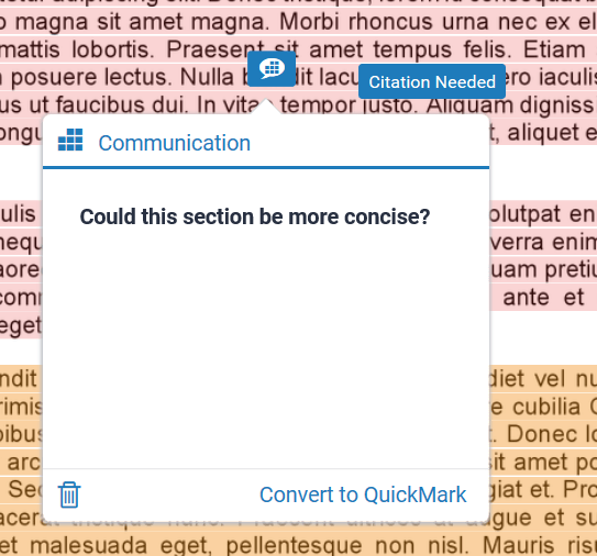 """A screenshot of Turnitin PeerMark. A speech bubble icon is selected, the text box contains the question: """"Could this be more concise?""""."""