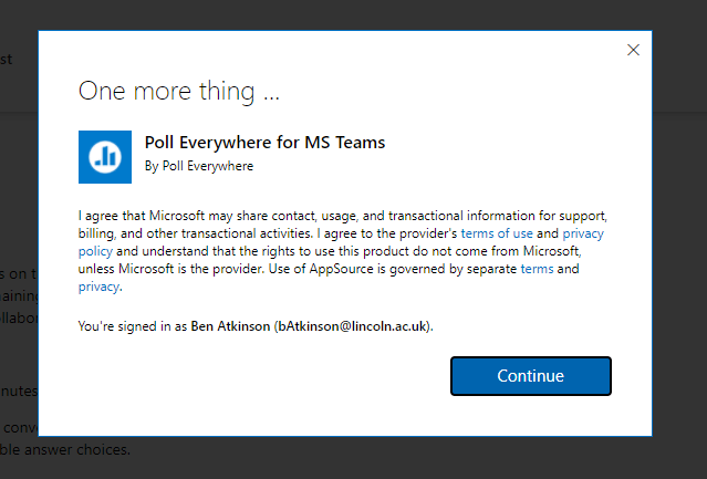 Screenshot showing the agreement message in the Microsoft Store for Poll Everywhere plugin.