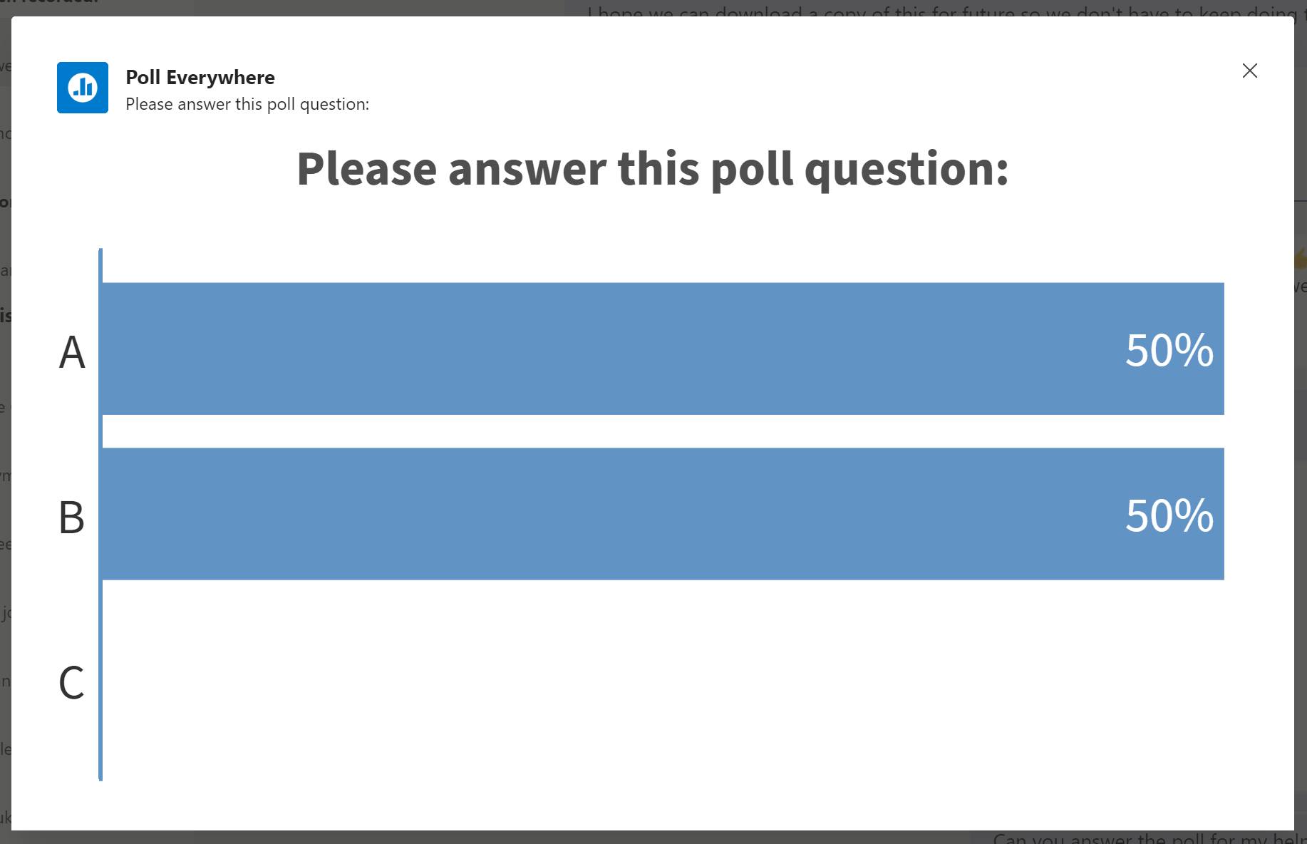 Screenshot showing results from Poll Everywhere poll in MS Teams.