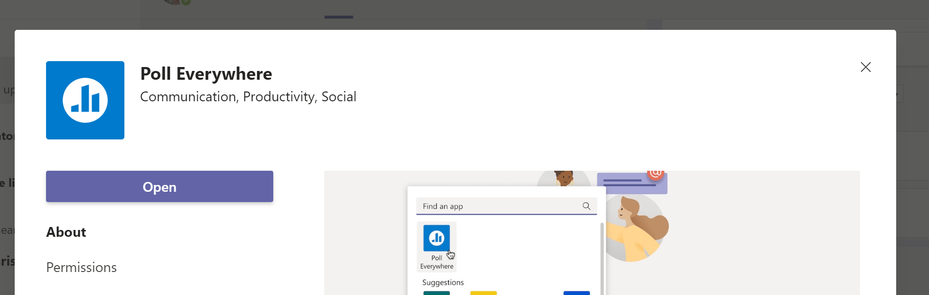 Screenshot showing the Poll Everywhere plugin being added to MS Teams.