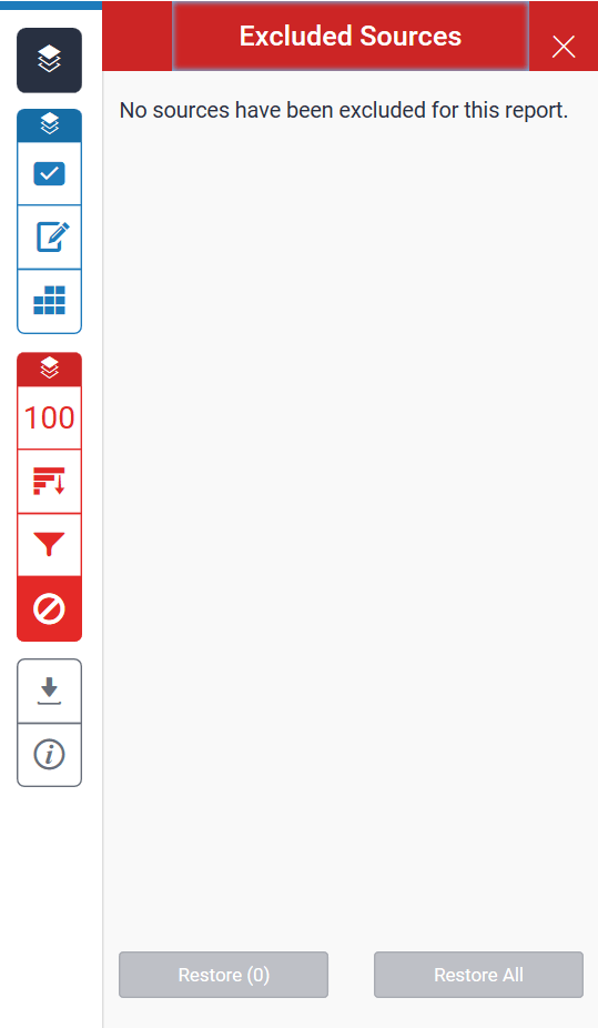 A screenshot of the Excluded Sources tab. Two buttons are shown to restore individual sources or restore all that have been excluded.
