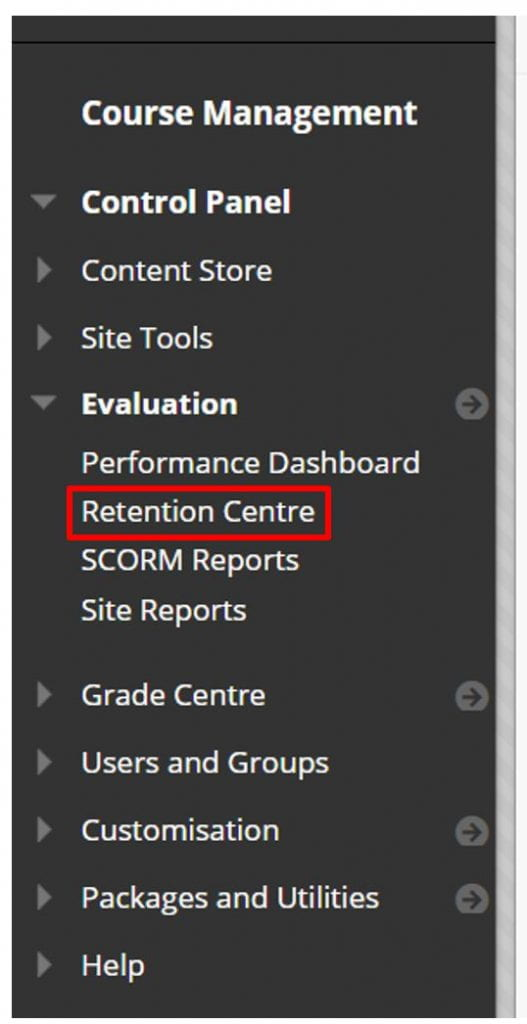 Expanded Evaluation tab in Blackboard with a red box to indicate the location of the Retention Centre tool.