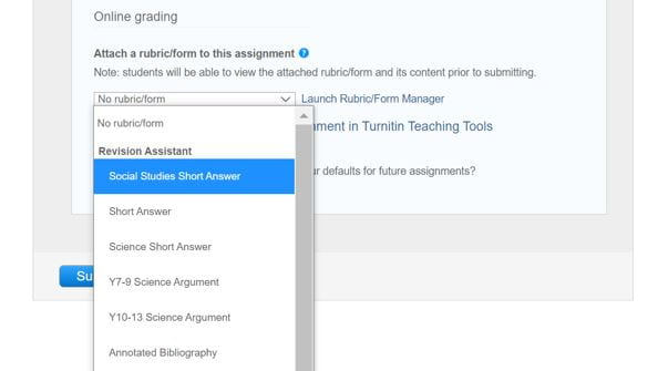 A screenshot of the Online Grading optional settings when Attaching a Rubric to a Turnitin assignment. A dropdown menu is expanded and shows a list of rubrics.