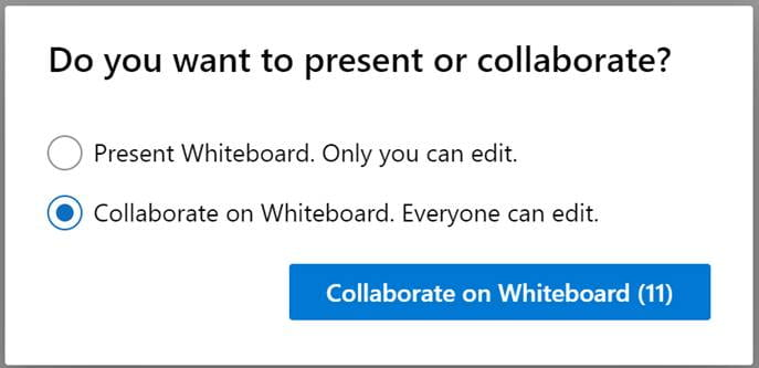A screenshot of the Microsoft Teams interface. A dialogue box asks the question - Do you want to present or collaborate? There are two options, only you can edit, and everyone can edit.