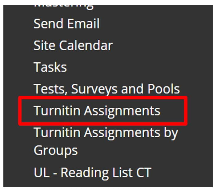 Screenshot of the Blackboard Course Management area. The site tools section is expanded and a red box highlights the Turnitin Assignments link.