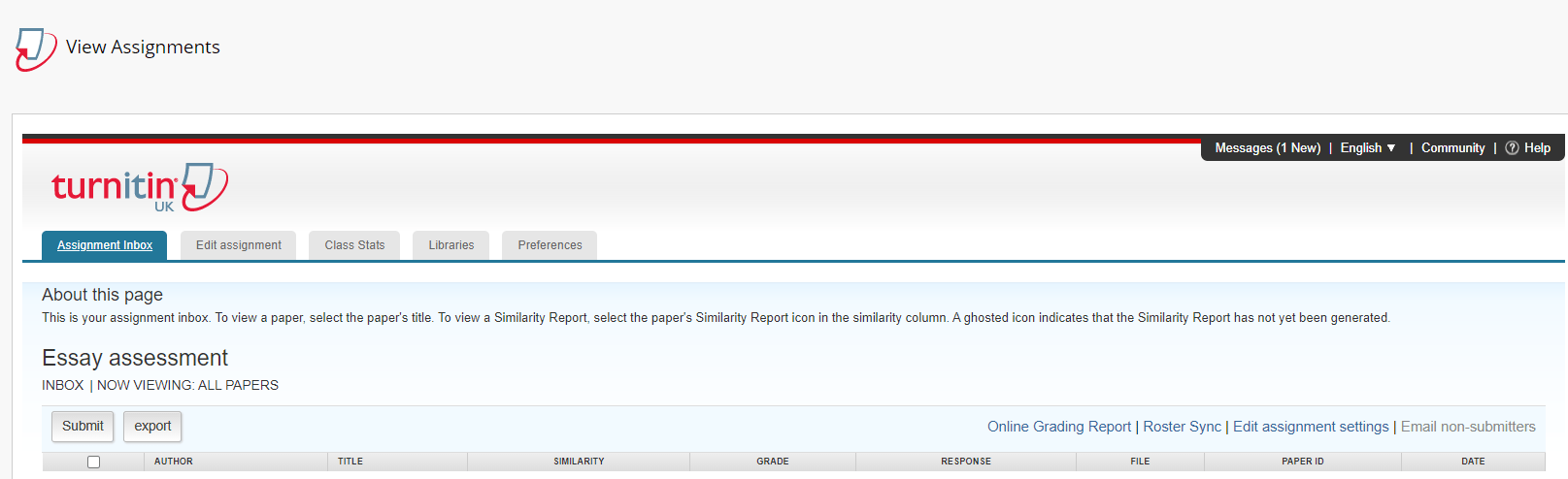 Screenshot showing the Turnitin inbox in Blackboard.
