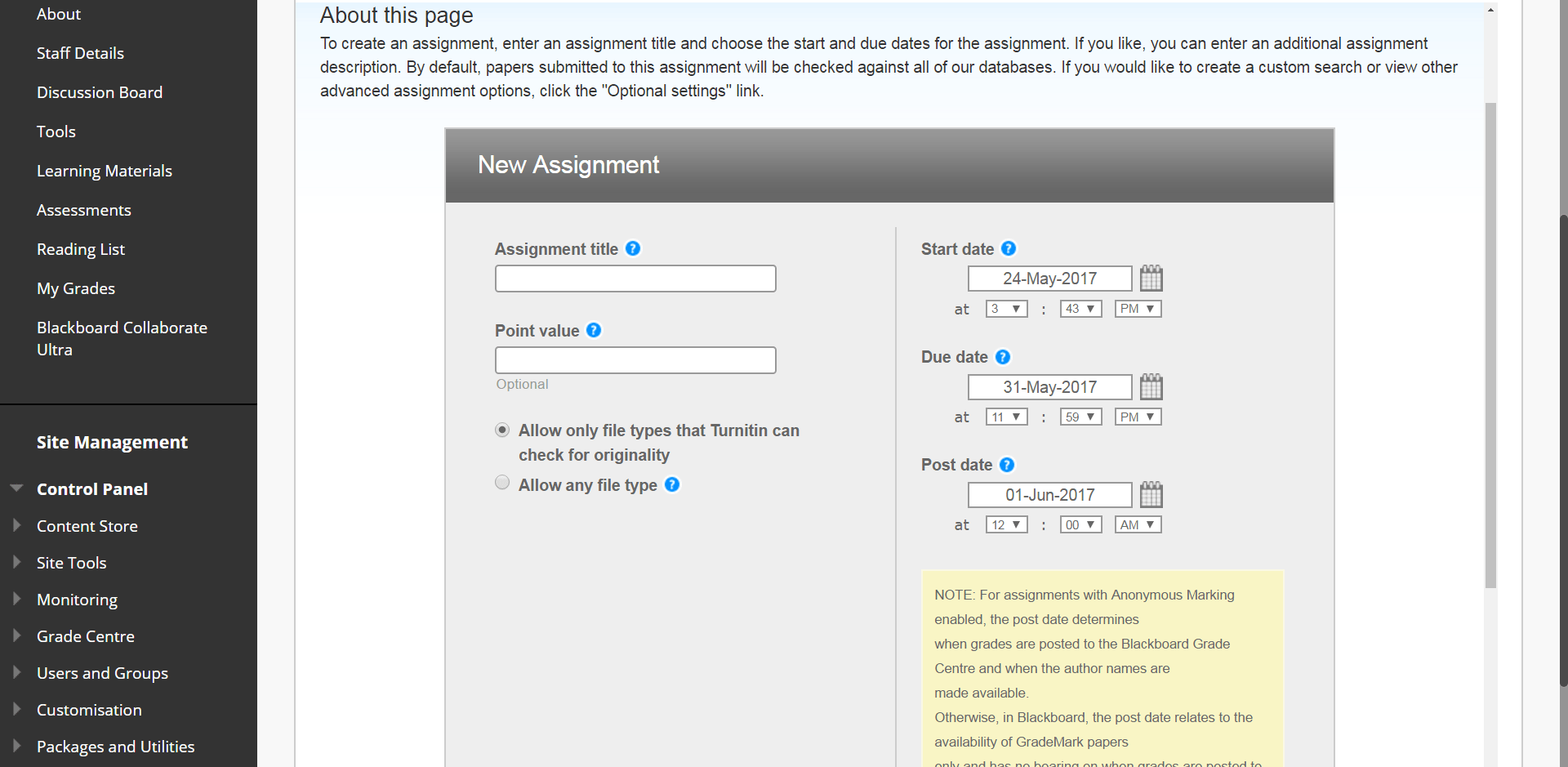 A screenshot of the Turnitin New Assignment setup page. The fields to complete are title, points value, start, due and post date.