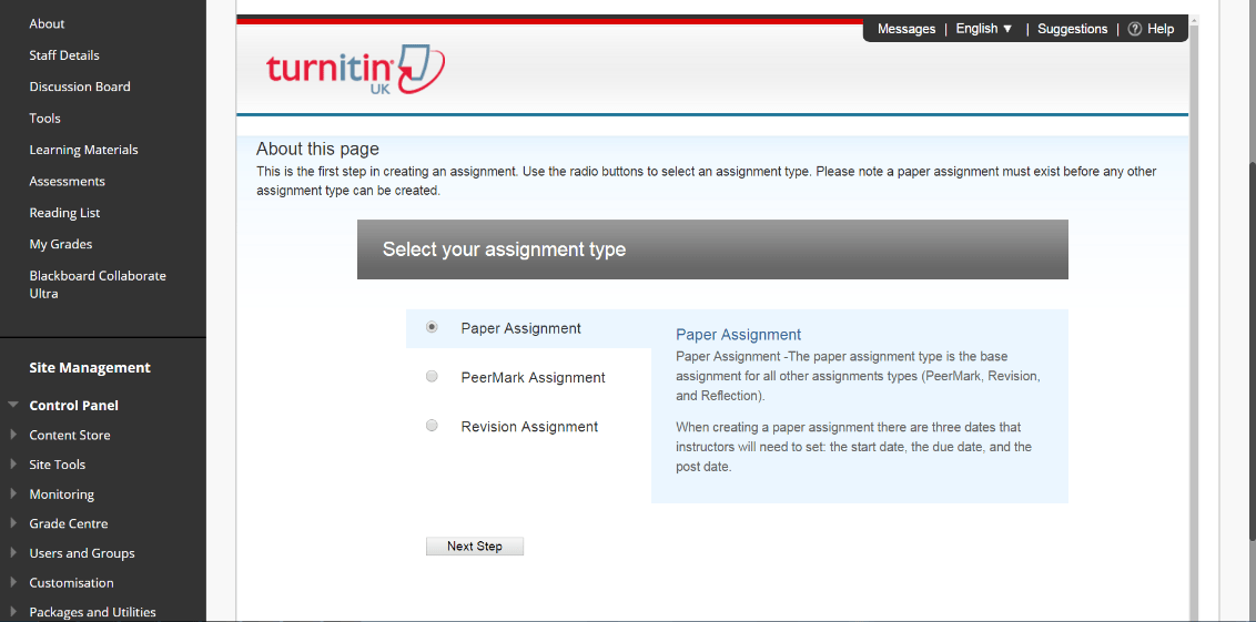 A screenshot of the Turnitin Assignment setup page. The Paper assignment option is selected. There are options for a PeerMark assignment and a Revision assignment.