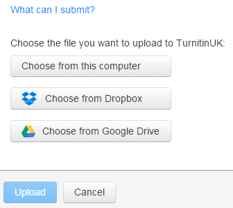 A screenshot of a Turnitin Submission Point. Three options are listed for uploading files: 'choose from this computer', 'choose from Dropbox' and 'choose from Google Drive'.