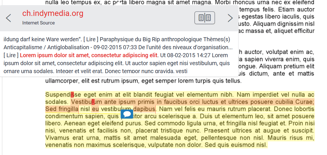 A screenshot of Turnitin Originality Check. The text of an essay is highlighted in red, a dialogue box references an internet source where there is a high similarity.