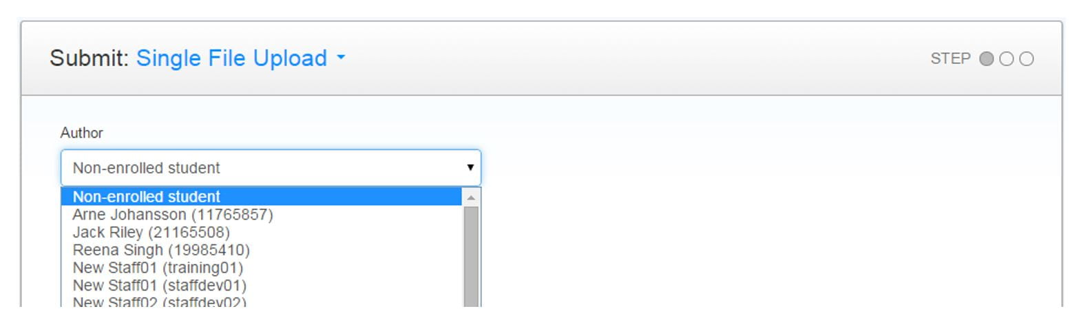 A screenshot of a Turnitin Submission Point. The author tab is expanded to reveal a list of students.
