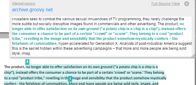 A screenshot of highlighted text within an essay, a pop up menu is shown to display the source and original text snippet where a high similarity has been found.
