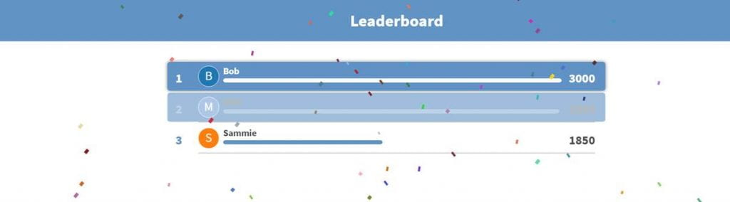 A leaderboard will be shown after each question, so students can see where they are and try and move up the leaderboard. At the end of the competition, virtual confetti will fall and the winner will be highlighted.