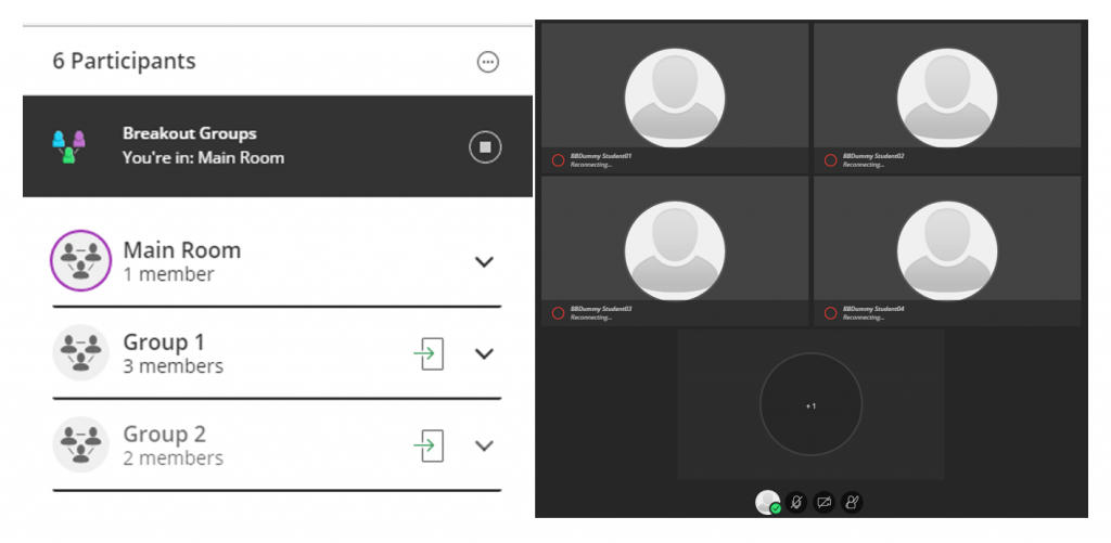 Two screenshots of the Blackboard Collaborate Breakout Rooms function. The image on the left shows three rooms listed: main, room 1 and room 2. The image on the right shows a Breakout room being closed.