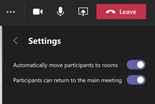 A screenshot of the Room settings menu. The automatically move participants and return to the main meeting options are active toggle switches set to yes.