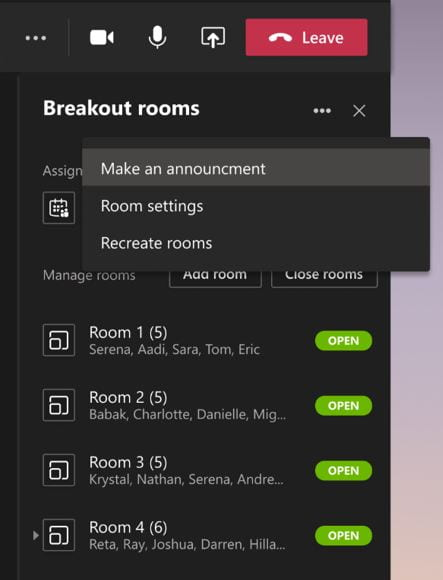 A screenshot of the breakout rooms interface. The more options menu is expanded, and reveals a Make an Announcement option.