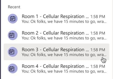 A screenshot of Microsoft Teams chats. Four chats are shown in the recent tab, they are named based on the module topic and the breakout room number.