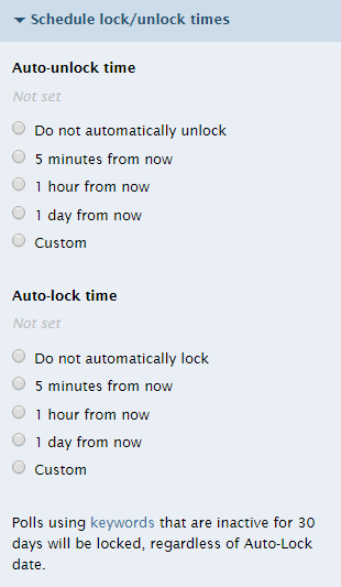 The schedule lock/unlock menu in Poll Everywhere lets you choose how the poll becomes available.