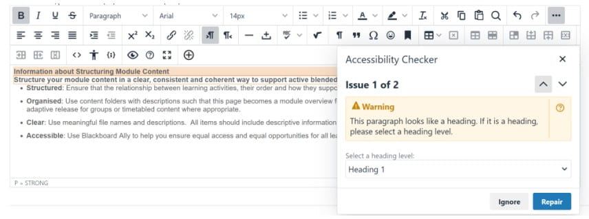 A screenshot showing how Blackboard will pick up and alert you to issues of accessibility in the content you have created.