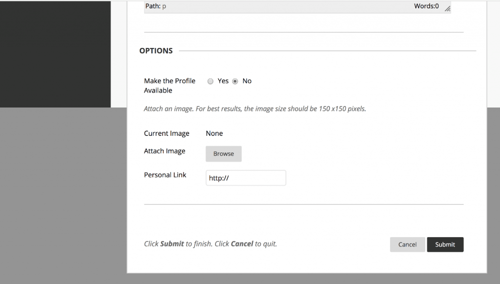 A screenshot showing how you can add an image to your profile on the 'Contacts' page within Blackboard.