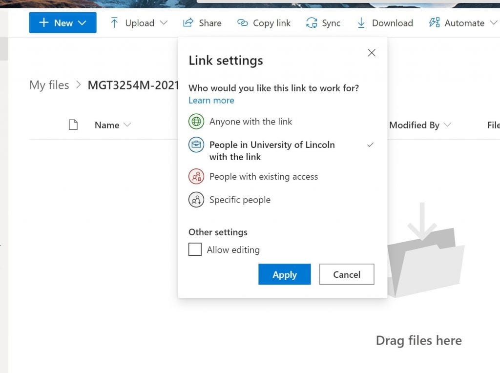 A screenshot showing the 'Link Settings' for any uploaded content on OneDrive. The image shows that you should share the content only to 'People in University of Lincoln with the link'.
