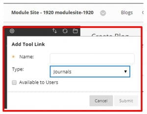 A screenshot of the Add Tool Link menu in Blackboard, the Name field, the type field, which is set to Journals, and the Available to Users checkbox is shown.