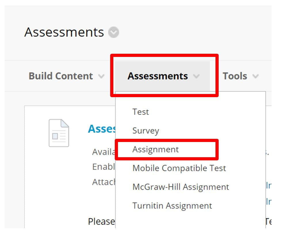 A screenshot to show the Assessments tab in Blackboard. A red box highlights the Assignment option.