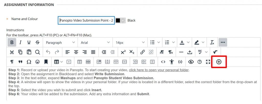 A screenshot of the content editor in Blackboard. A red box highlights the Additional Content button.