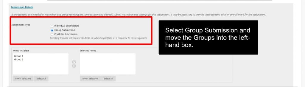 A screenshot showing the additional options that should be considered when creating an Assignment. This includes due date, points possible, assignment type, mark display settings, availability and date parameters.