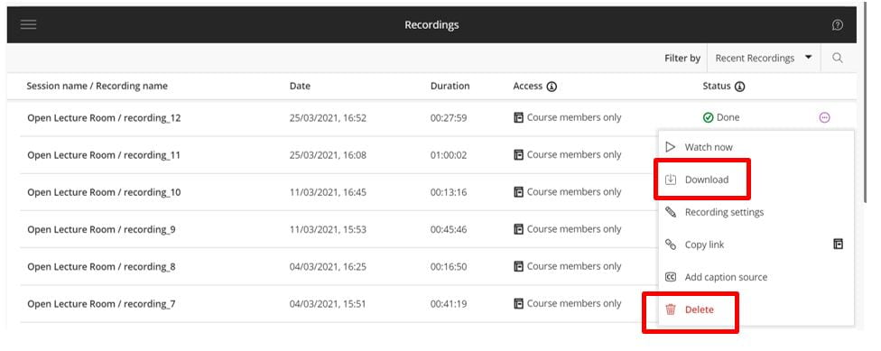 The Blackboard Collaborate Ultra Recordings menu is shown. A list of  recordings is displayed, the more options menu is open on a recording, the download and delete buttons are highlighted.