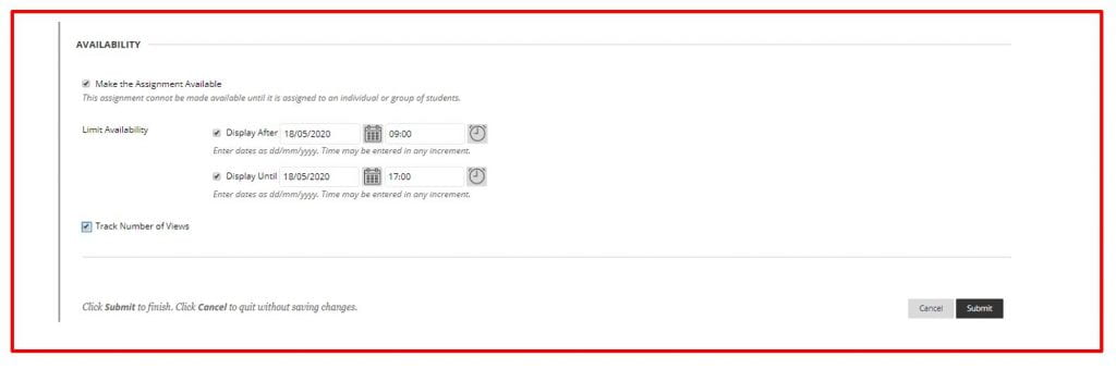 A screenshot of the Blackboard Create Assignment page. The Availability tab is expanded, the make assignment available checkbox is ticked, and the date and time fields for display after and display until are populated. There is also an option to track number of views.