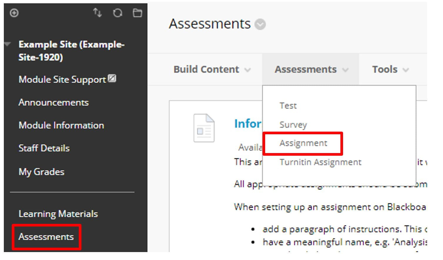 A screenshot of the Blackboard Assessments page on a Module Site. The Assessments tab is expanded and a red box highlights the Assignment option in the drop down list.