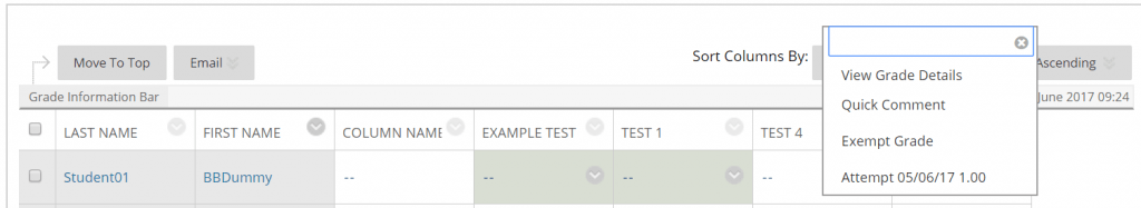A screenshot of a Blackboard Test within the Grade Centre. The grey chevron arrow is selected on a cell for a student's attempt on the test, an attempt with date and score is shown.