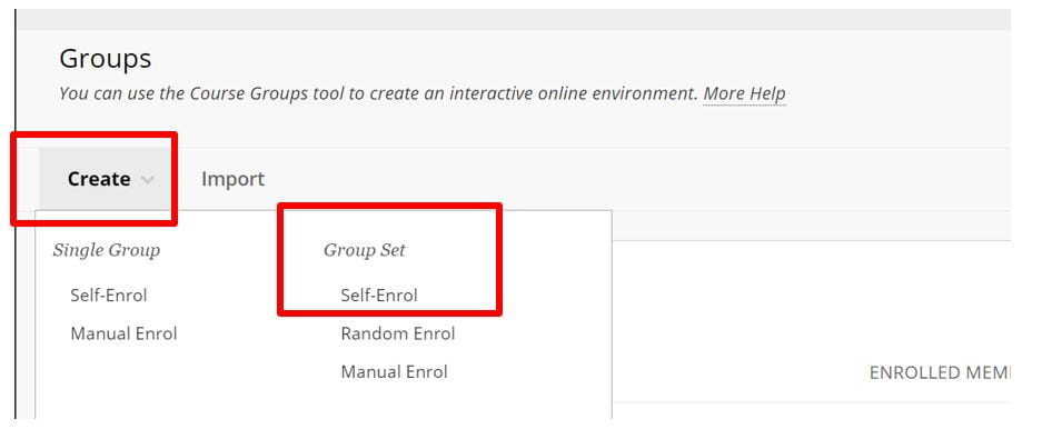 A screenshot of the Groups menu. A red box highlights the Create menu which is expanded to show enrolment methods.