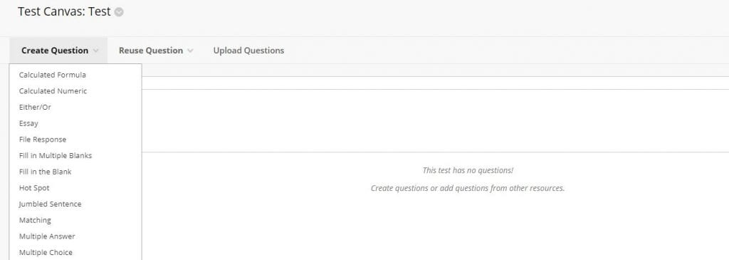 A screenshot of the Blackboard Test Canvas, the Create Question tab is expanded.