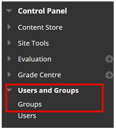 A screenshot of the Blackboard Control Panel. A red box highlights the Users and Groups tab.