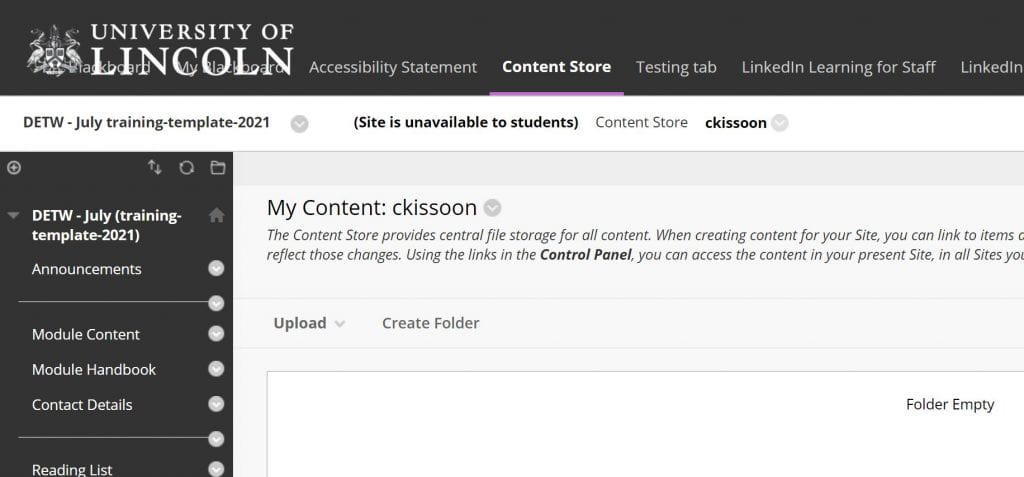 A screenshot showing the top menu on Blackboard and the option to click on 'Content Store'.