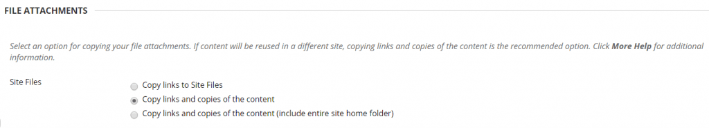 A screenshot showing how you should copy content by choosing 'copy links and copies of the content' rather than moving any content.