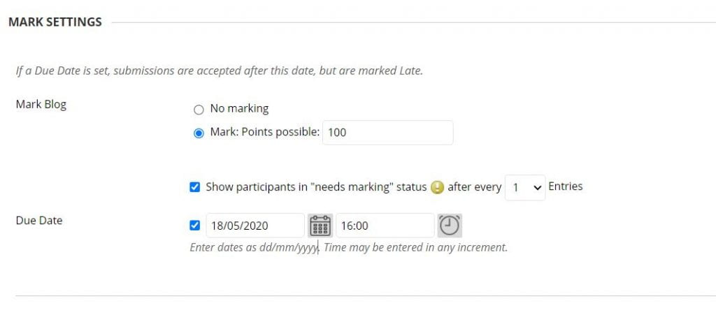 A screenshot of the Create Blog page of a Blackboard Module Site. The Grade Settings allows you to select total points possible if applicable, at what point does the user show as Needs Marking in the grade centre, and the Due Date for entries.
