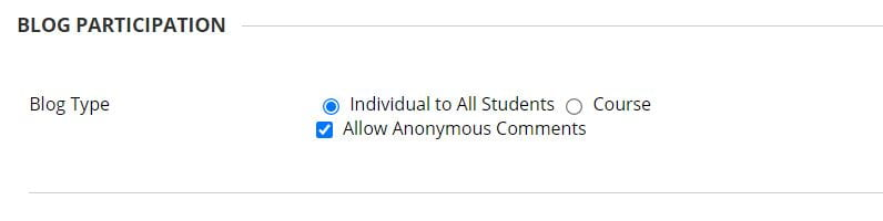 A screenshot of the Create Blog page of a Blackboard Module Site. The Blog Type setting allows for the selection of either 'individual to all students' or Site. A checkbox for allowing anonymous comments is shown.